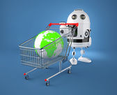 A shopping cart containing a globe. Gglobal market concept — Stock Photo