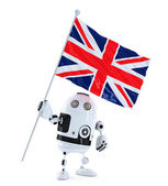 Android Robot standing with flag of UK. Isolated over white — Stock Photo
