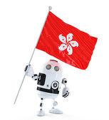 Android robot staande met vlag van hong kong. — Stockfoto