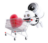 Android flying with trolley — Stock Photo