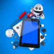 Android robot repairing tablet pc — Stock Photo