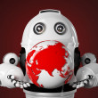 Robot holds red earth globe — Stock Photo #30886495