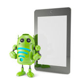 Android with WiFi symbol and blank screen tablet. — Stock Photo