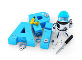 Robot with tools and application programming interface sign. Technology concept — Stock Photo