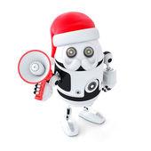 Robot Santa with megaphone — Stock Photo