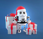 Cute Robot Santa with gift boxes — Stock Photo