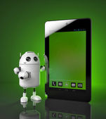 Robot showing tablet computer — Stock Photo