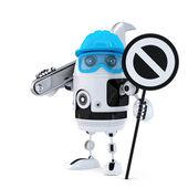 Operaio edile robot con la chiave e il segnale di stop — Foto Stock