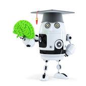 Student robot holding a human brain — Stock Photo