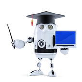 Student robot with pointer and laptop — Stock Photo