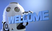 Robot holding WELCOME sign — Foto de Stock