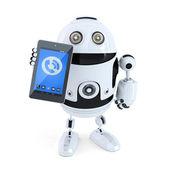 робототехнические холдинг, звонит мобильный телефон или планшет — Стоковое фото