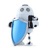 Robot with shield — Stock Photo