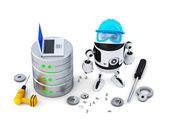 Robot with database — Stock Photo