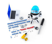Robot with tools and program source code — Stock Photo