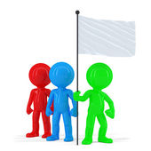 Team of coloured people holding flag. — Stock Photo
