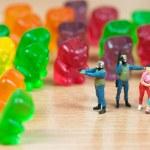 Gummy bear invasion. Junk food concept — Stock Photo #50047267