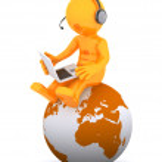 Support phone operator sitting on earth globe — Stock Photo #5859342