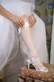 Foot of bride. — Stock Photo