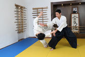 Demonstration of fighting art Aikido. — Stock Photo