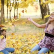 Mum and daughter in park. — Stock Photo