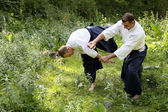 Training martial art Aikido. — Stock Photo