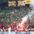 Galatasaray fans celebrating goal, in CFR Cliuj-Napoca vs Galatasaray istambul footbal match — Stock Photo #15817041