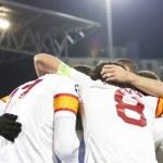 Galatasaray team after scoring a goal, CFR Cliuj-Napoca vs Galatasaray istambul footbal match — Stock Photo #15817519