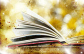 Christmas background with book — Stok fotoğraf