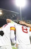 Galatasaray team after scoring a goal, CFR Cliuj-Napoca vs Galatasaray istambul footbal match — Stock Photo