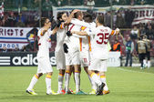 Galatasaray team after scoring a goal, CFR Cliuj-Napoca vs Galatasaray istambul footbal match — Stock Photo