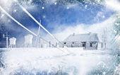 Noel arka tepe üzerinde karlı bir ev — Stok fotoğraf