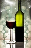Red wine against holiday lights — Stock Photo