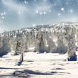 Beautiful winter panorama with snow covered trees — Stock Photo