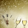Glasses of champagne against holiday lights — Stock Photo