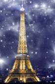 View of Eiffel Tower at night — Stock Photo