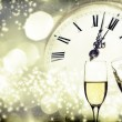 Glasses with champagne over holiday background — Stock Photo #37539403