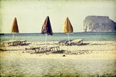 Beach with umbrellas — Stock Photo