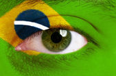 Face painted with flag of Brazil — Stok fotoğraf