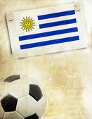 Uruguay bayrağı ve futbol topu fotoğrafı — Stok fotoğraf