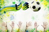 Vintage photo of cheering hands, soccer ball and the Brazil flag — Stock Photo