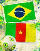 2014, activity, against, algeria, background, ball, brasil, braz — Stock Photo