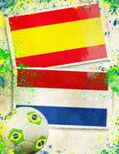 Spain vs Netherlands soccer ball concept — Stock Photo