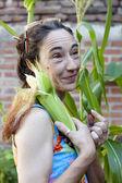 Woman in the garden — Stock Photo