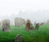 Cemetery with a fog — Stock Photo