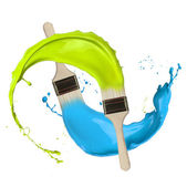 Colored paints splashing out of brushes — Stock Photo