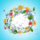 Fruit in water explosion — Stock Photo