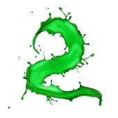 绿色液体字母表编号 2 — 图库照片