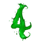 Green Liquid alphabet number 4 — Stock Photo