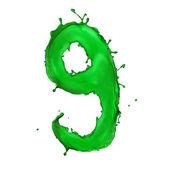 Groene vloeistof alfabet nummer 9 — Stockfoto